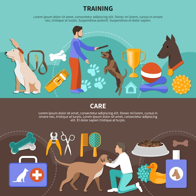 Care for dogs banner collection Free Vector