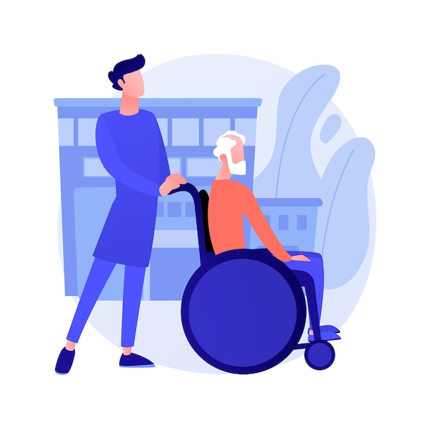 Care for the elderly abstract concept vector illustration. eldercare, senior homesick nursing, care services, happy on wheelchair, home support, retired people, nursing home abstract metaphor. Free Vector