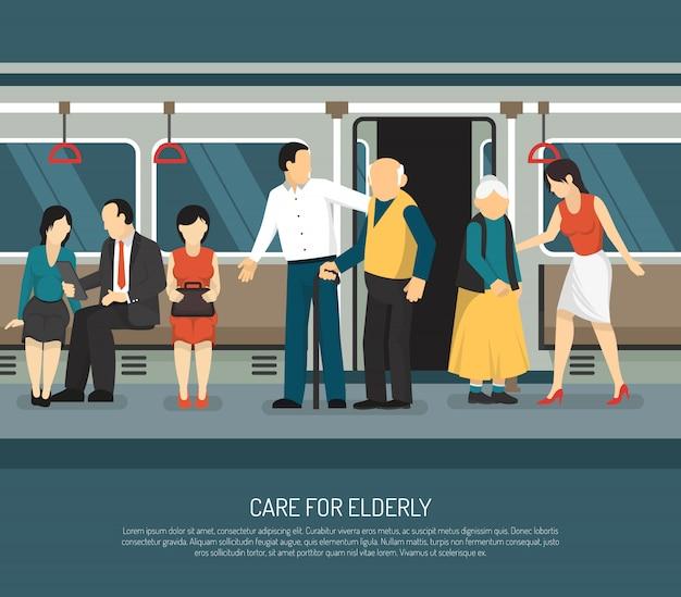 Care for elderly illustration Free Vector