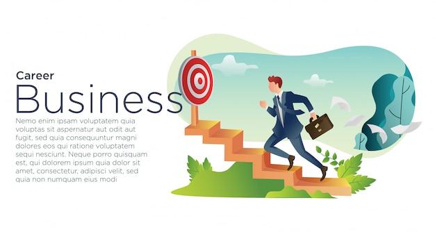 Career business of young entrepreneur. Premium Vector