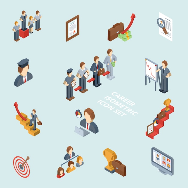 Career isometric set Free Vector