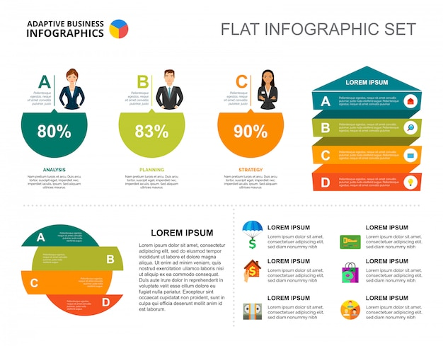 career percentage chart template for presentation vector free download