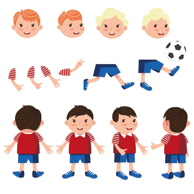 Carefree boys characters set with different poses Free Vector