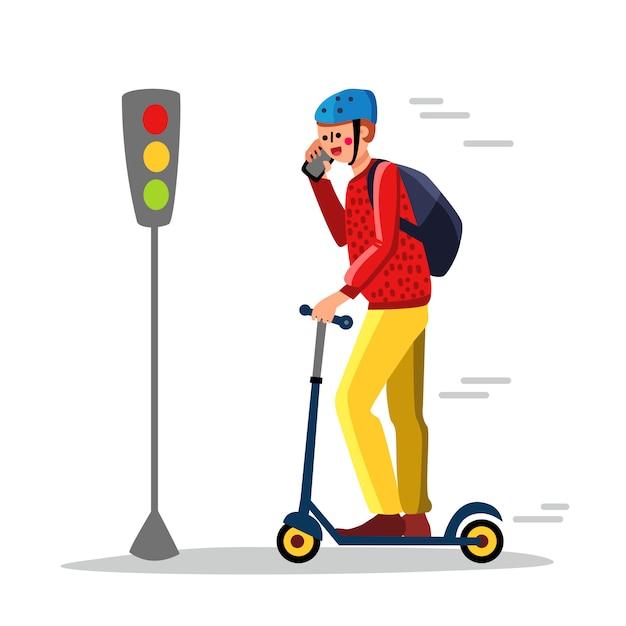 Careless man driving kick scooter on street Premium Vector