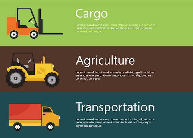 Cargo, agriculture, transportation web banners Free Vector