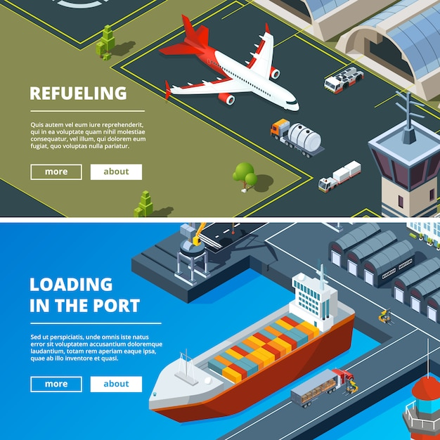 Cargo concept banner template. horizontal pictures of freight delivery transport Premium Vector