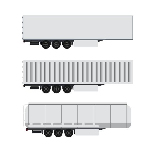Cargo container design with trailer truck Premium Vector