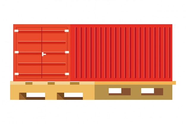 Cargo container over pallets illustration Premium Vector