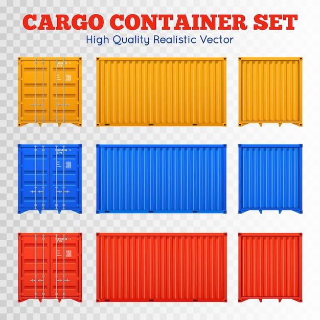 Cargo container transparent set Free Vector