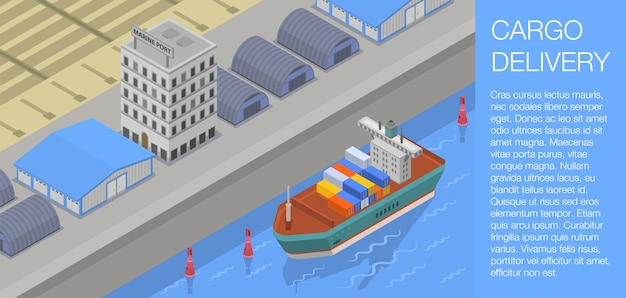 Cargo delivery concept banner, isometric style Premium Vector