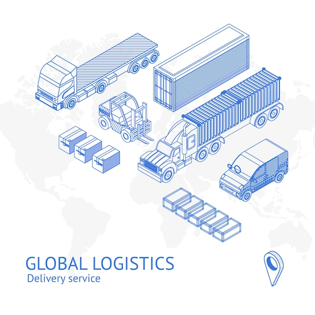 Cargo delivery transport in icons Premium Vector