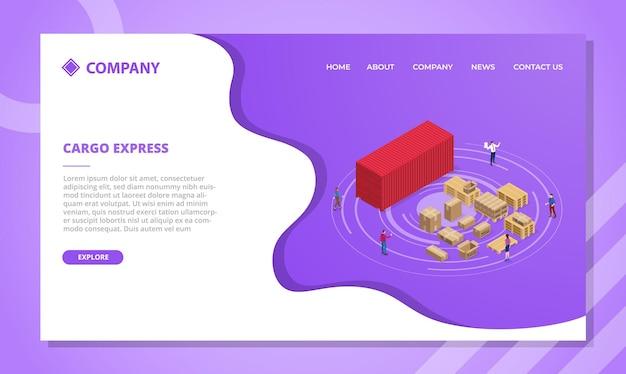 아이소 메트릭 스타일 일러스트와 함께 웹 사이트 템플릿 또는 방문 홈페이지 디자인을위한화물 표현 개념 무료 벡터