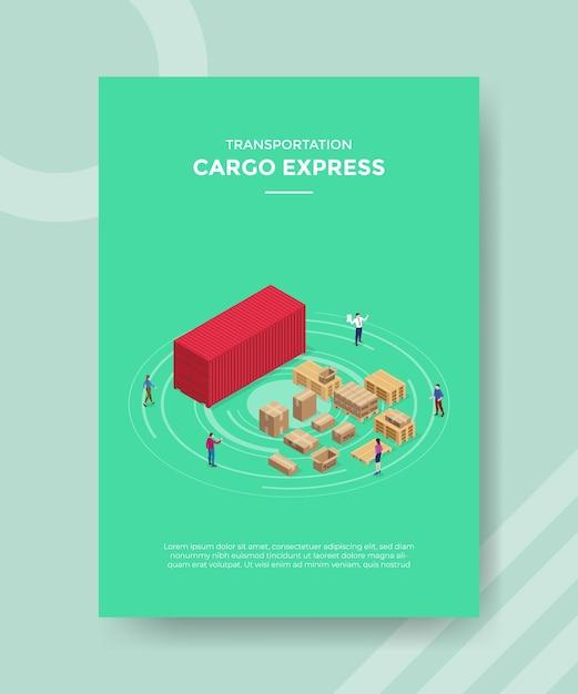 Cargo express concept per banner modello e flyer per la stampa con illustrazione di stile isometrico Vettore gratuito