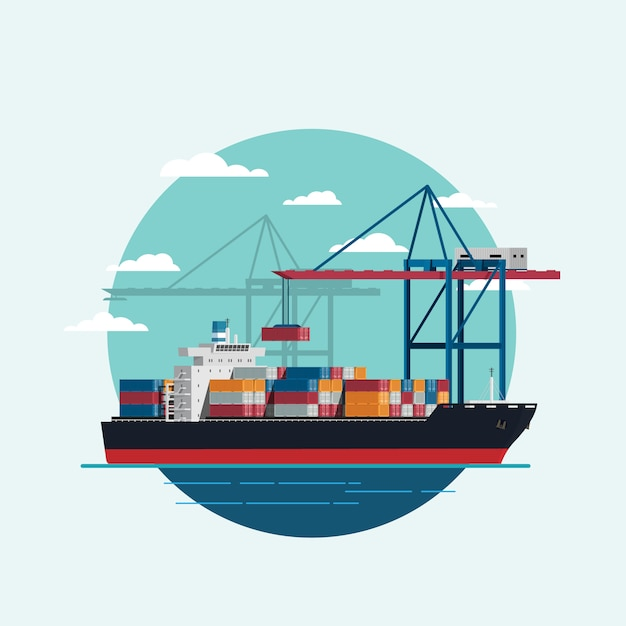 Cargo logistics being loaded container ship with working crane import export transport industry Premium Vector