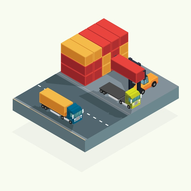 Cargo logistics truck and transportation container with forklift truck lifting cargo container in shipping yard. isometric illustration vector Premium Vector