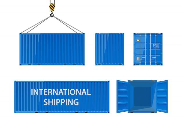 Cargo metallic shipping container for the carriage of cargo. Premium Vector