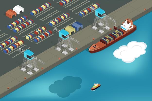 Грузовой порт. погрузочные контейнеры для торговых судов. Бесплатные векторы