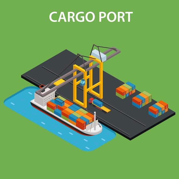 Cargo port isometric Free Vector