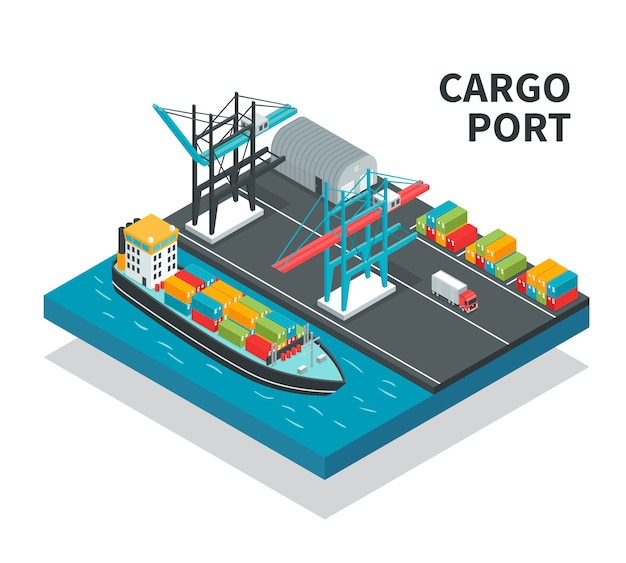Cargo port with loading facilities color containers  vessel with freight  truck isometric composition illustration Free Vector