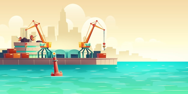 Cargo seaport on metropolis harbor cartoon illustration Free Vector