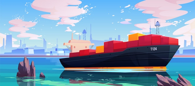Cargo ship in sea port dock illustration Free Vector