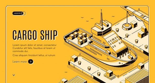 Cargo ship transport logistics isometric landing Free Vector