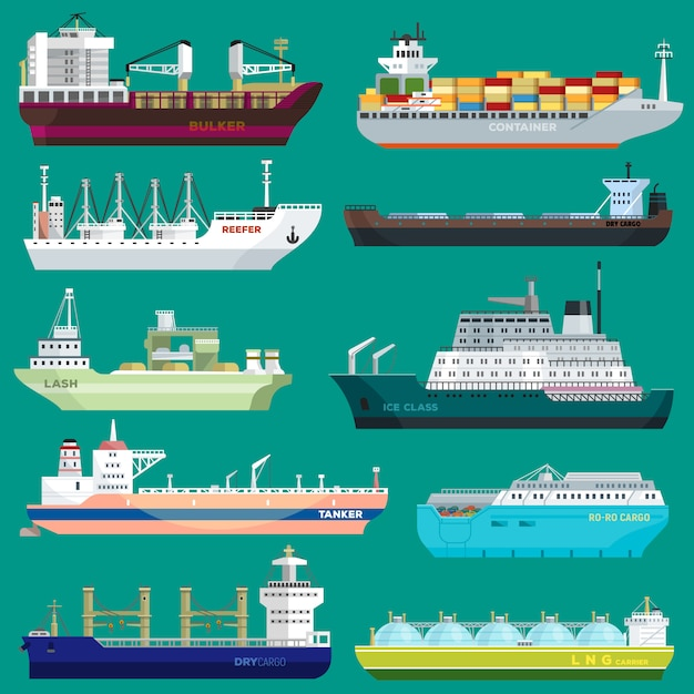 Cargo ship vector shipping transportation export trade container illustration set of industrial business freight transport port shipment isolated Premium Vector