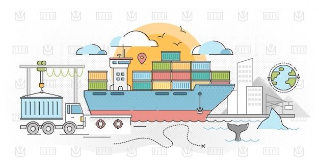 Cargo shipping outline concept vector illustration Premium Vector