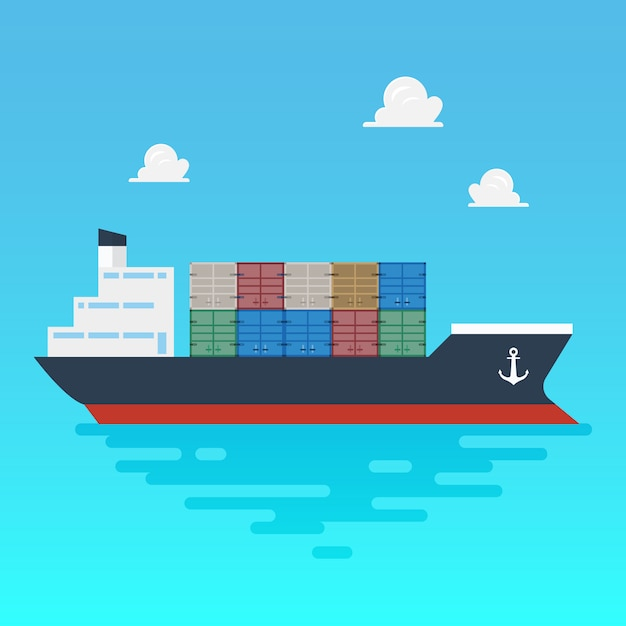 Cargo shipping with containers flat style Premium Vector