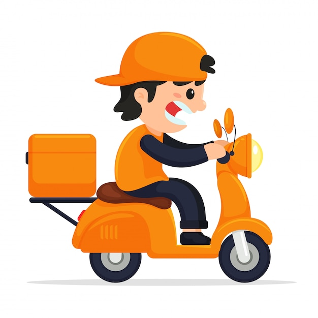Cargo staff drive motorcycle delivery.  online product delivery via mobile application Premium Vector