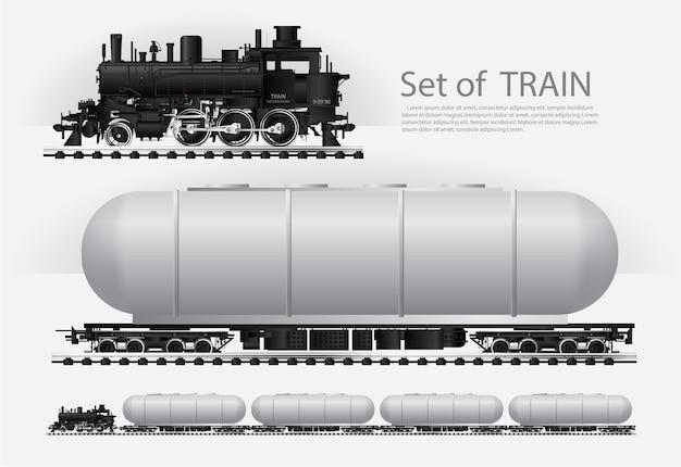 Грузовой поезд на железной дороге векторные иллюстрации Premium векторы