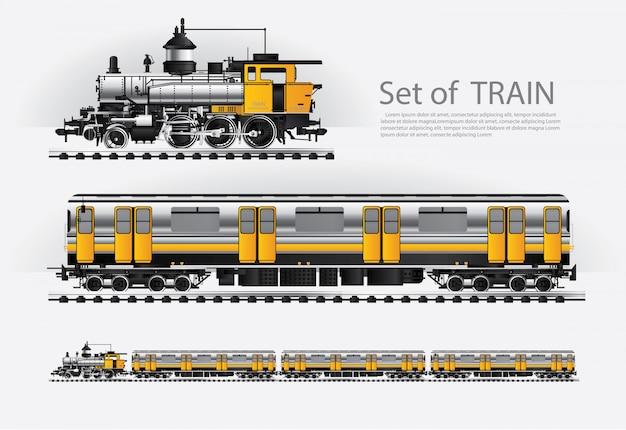 Cargo train on a rail road illustration Premium Vector