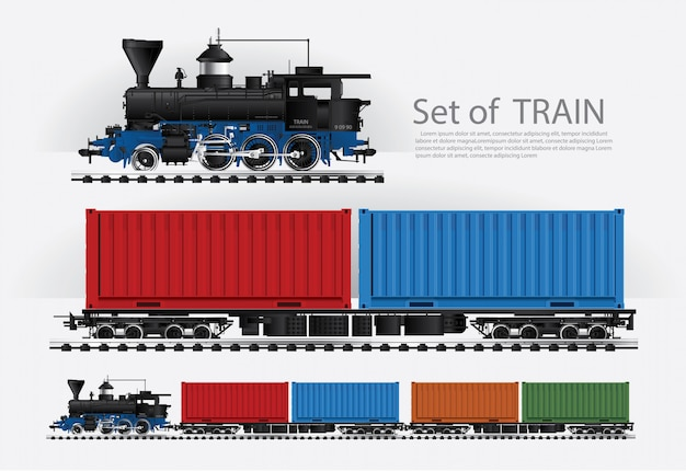 Cargo train on a rail road vector illustration Premium Vector