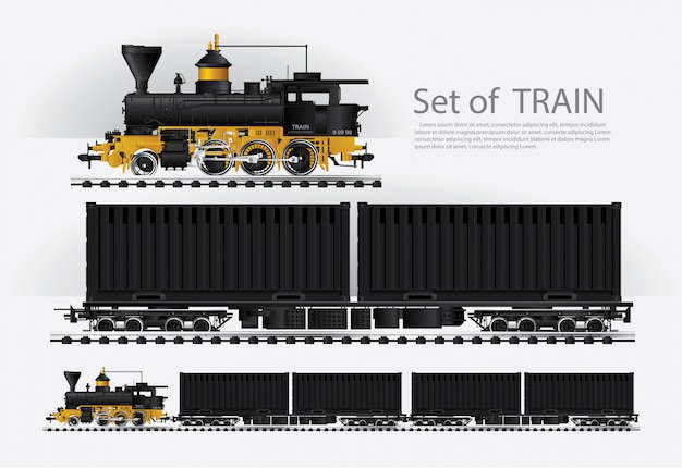 Cargo train on a rail road vector illustration Premium Vector