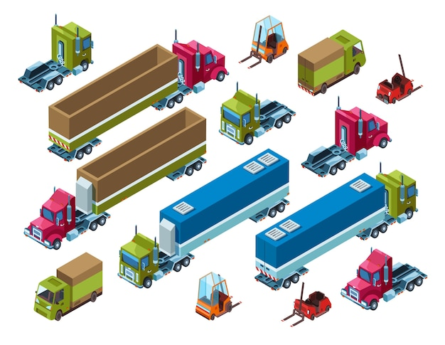 Cargo transport illustration of isometric logistics delivery trailer Free Vector