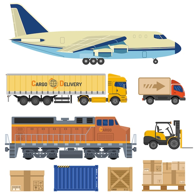 Cargo transport and packaging Premium Vector
