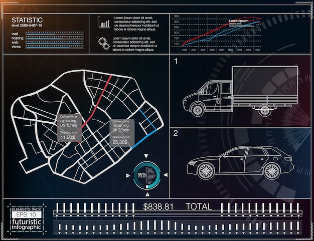 貨物輸送のインフォグラフィック、商品の配達のためのテンプレートアプリケーション。貨物配送マップ。未来的な情報ディスプレイ。簡単な色替え。クリップされた要素。 Premiumベクター