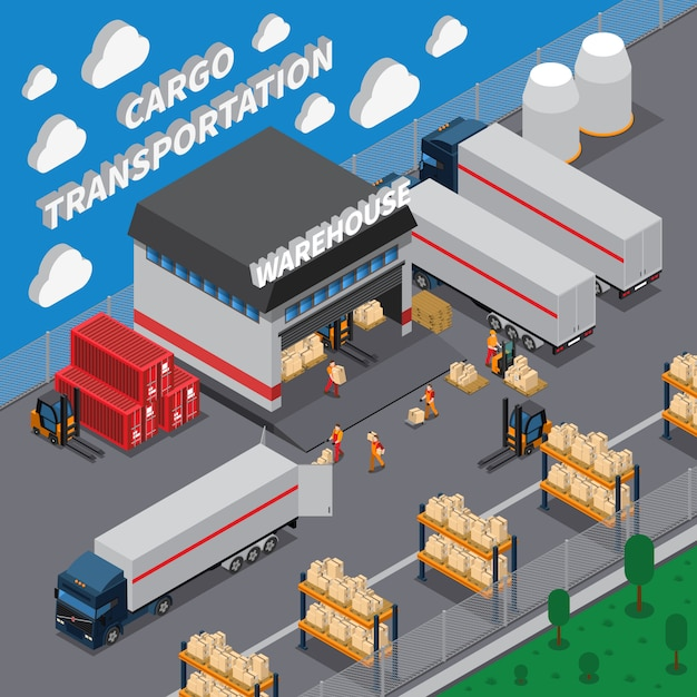 Cargo transportation isometric composition Free Vector