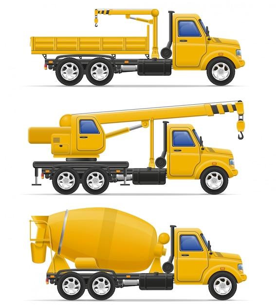 Cargo trucks intended for construction vector illustration Premium Vector