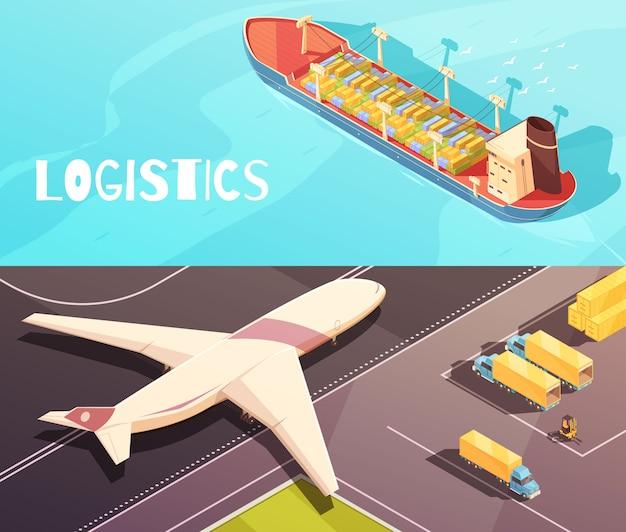 Cargo vessel banners set Free Vector