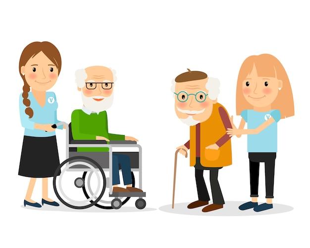 Caring for seniors Premium Vector