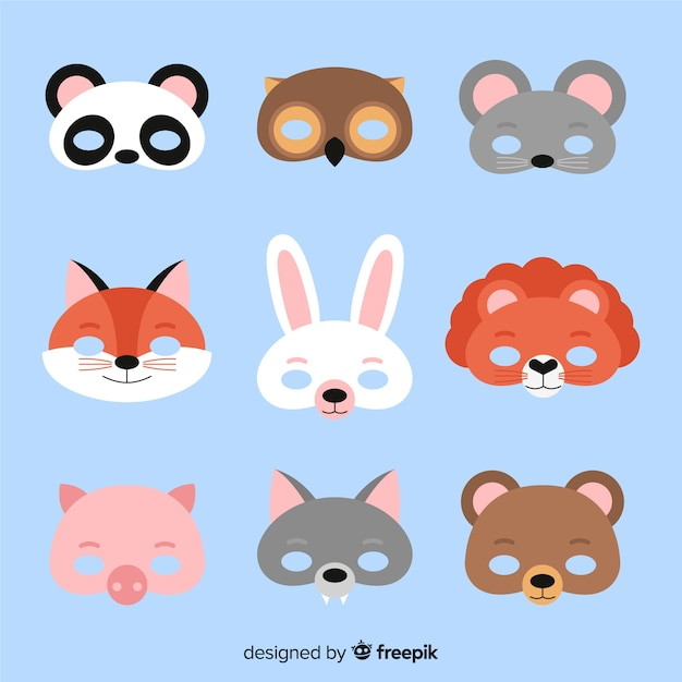 Carnival animal mask collection Free Vector