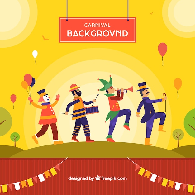 Carnival background design with dancing\ man