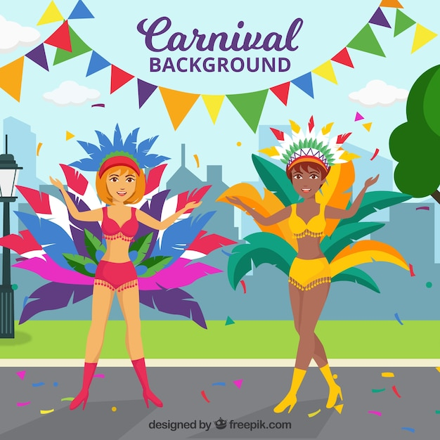 Carnival background with dancing women