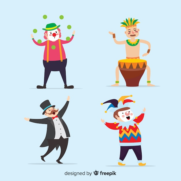 Carnival character collection Free Vector