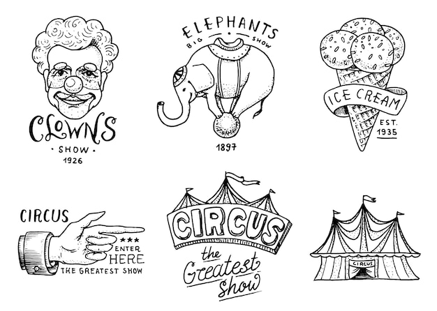 Carnival circus badge. banner or poster with animals. clown and elephant, ice cream and focus, magic in the tent. festival with actors. engraved emblem hand drawn. entertainment, theater and marquee. Premium Vector