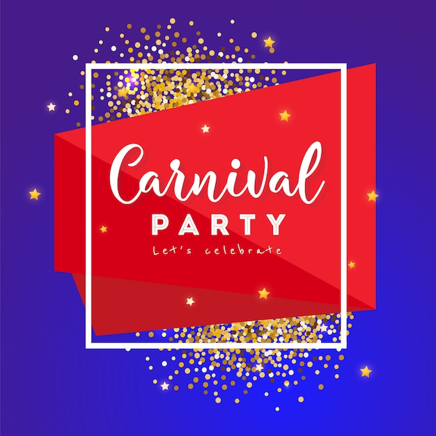 Carnival concept banner with frame and stars on a dark background.  fat tuesday Premium Vector