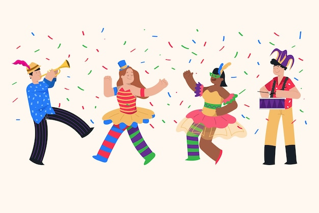 Carnival dancers collection illustration Free Vector