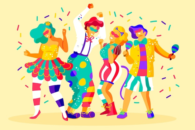 Carnival dancers collection Free Vector