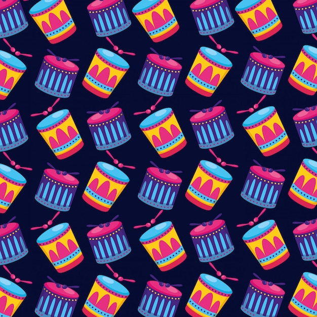 Carnival drums sticks seamless pattern Free Vector